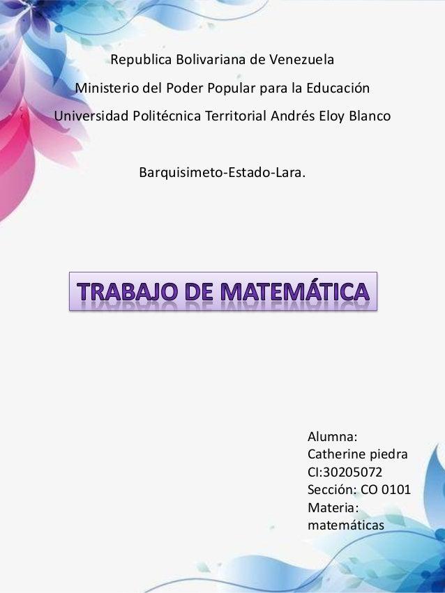 Republica Bolivariana de Venezuela Ministerio del Poder Popular para la Educación Universidad Politécnica Territorial Andr...