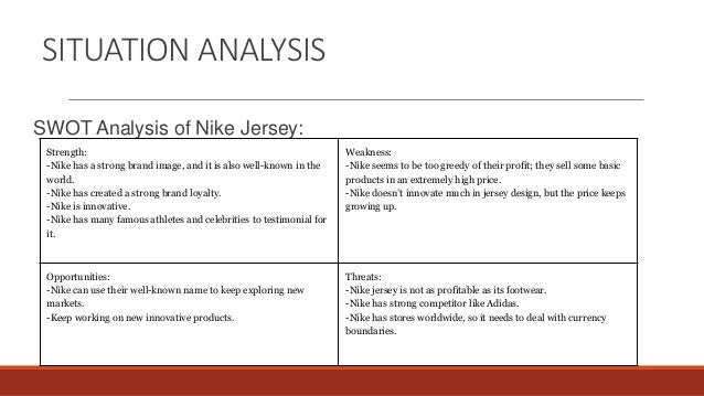 nike situation analysis Situation analysis - the 5 c's of marketing: company, collaborators, customers,  competitors, and climate.