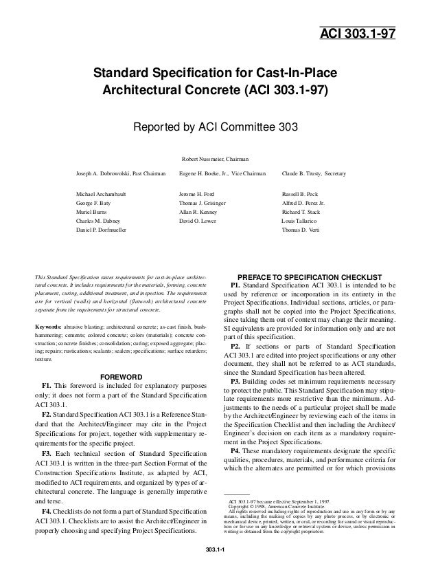 303 1 97 standard specification for-cast-in-place architec