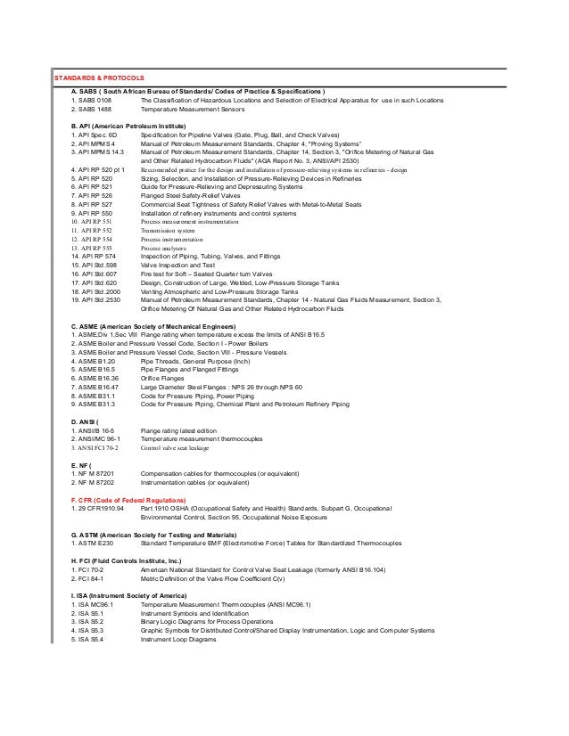 List of Control Systems Standards
