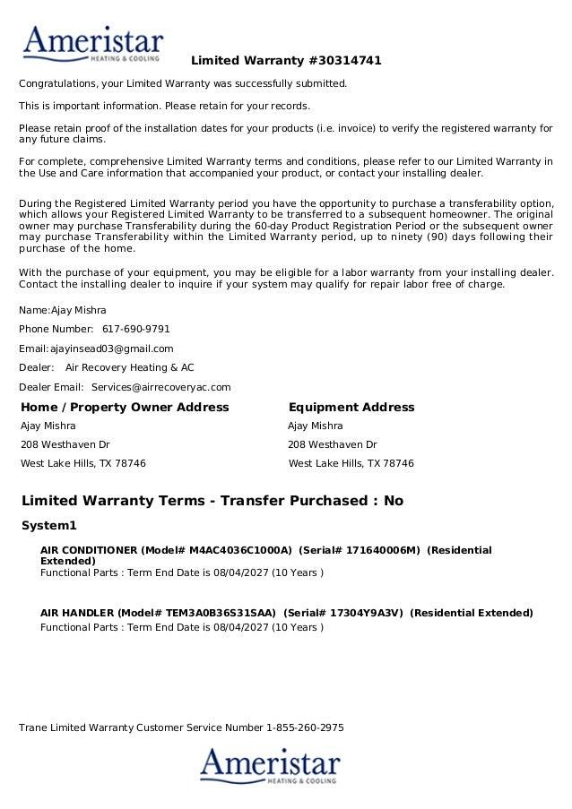 30314741generate warranty pdf8.7.17 warranty 3 ton ac condenser - ame…