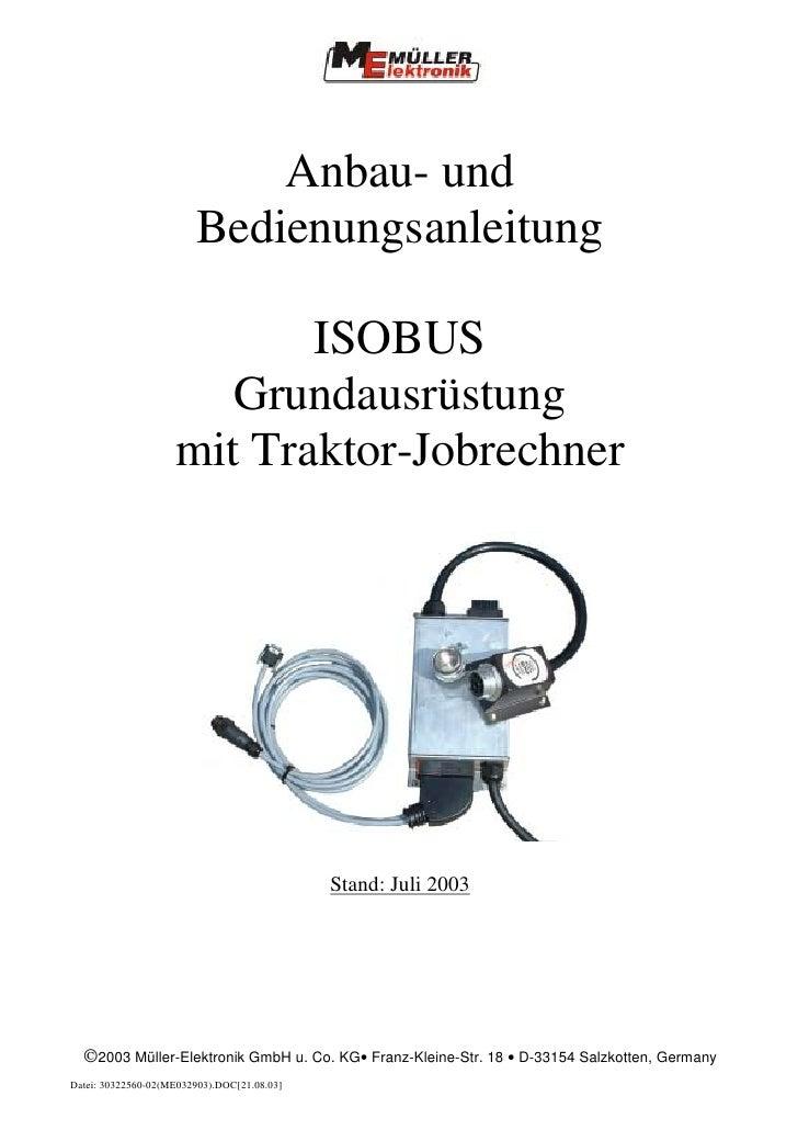Anbau- und                         Bedienungsanleitung                             ISOBUS                        Grundausr...