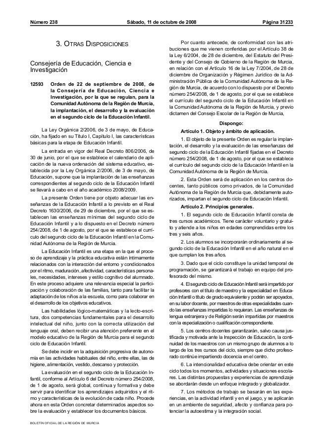 BOLETÍN OFICIAL DE LA REGIÓN DE MURCIA Sábado, 11 de octubre de 2008 Página 31233Número 238 3. Otras Disposiciones Conseje...