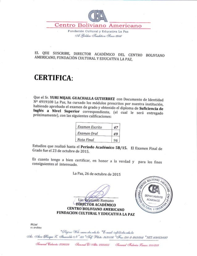 Cba English Proficiency Certificate