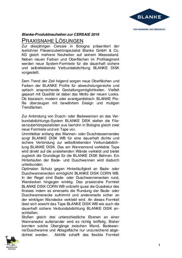 1 Blanke-Produktneuheiten zur CERSAIE 2016 PRAXISNAHE LÖSUNGEN Zur diesjährigen Cersaie in Bologna präsentiert der Iserloh...
