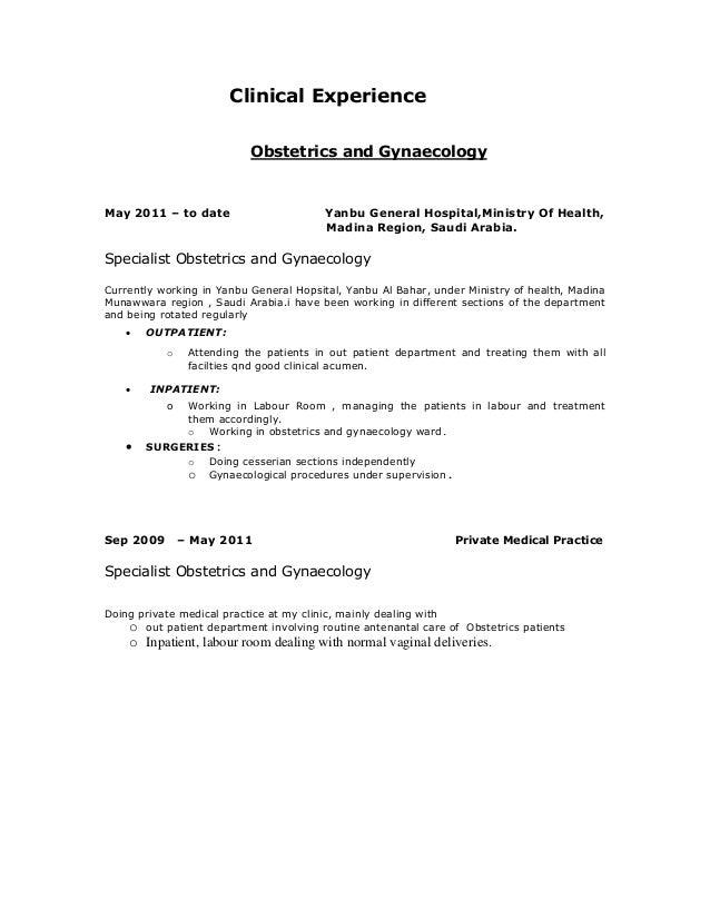 curriculum vitae of gynaecologist