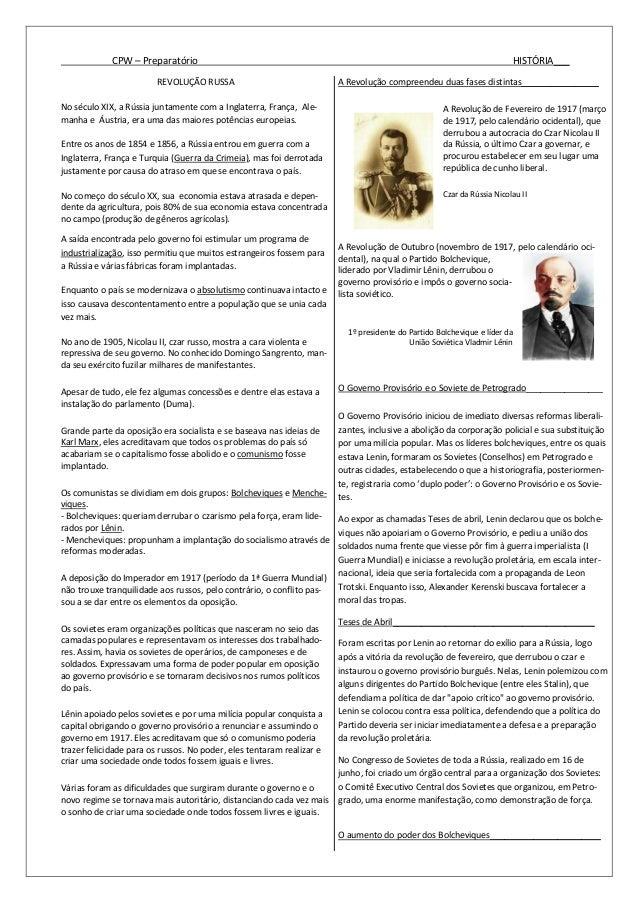 CPW – Preparatório HISTÓRIA___ REVOLUÇÃO RUSSA No século XIX, a Rússia juntamente com a Inglaterra, França, Ale- manha e Á...