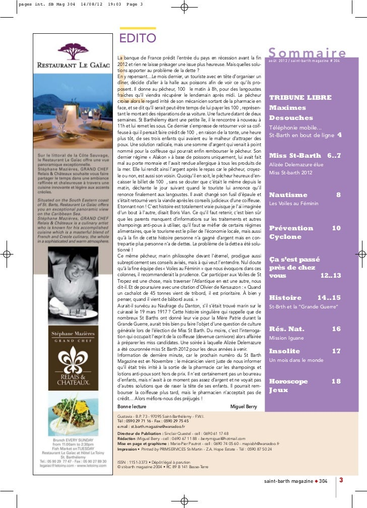 pages int. SB Mag 304   14/08/12   19:03   Page 3                                       EDITO                             ...