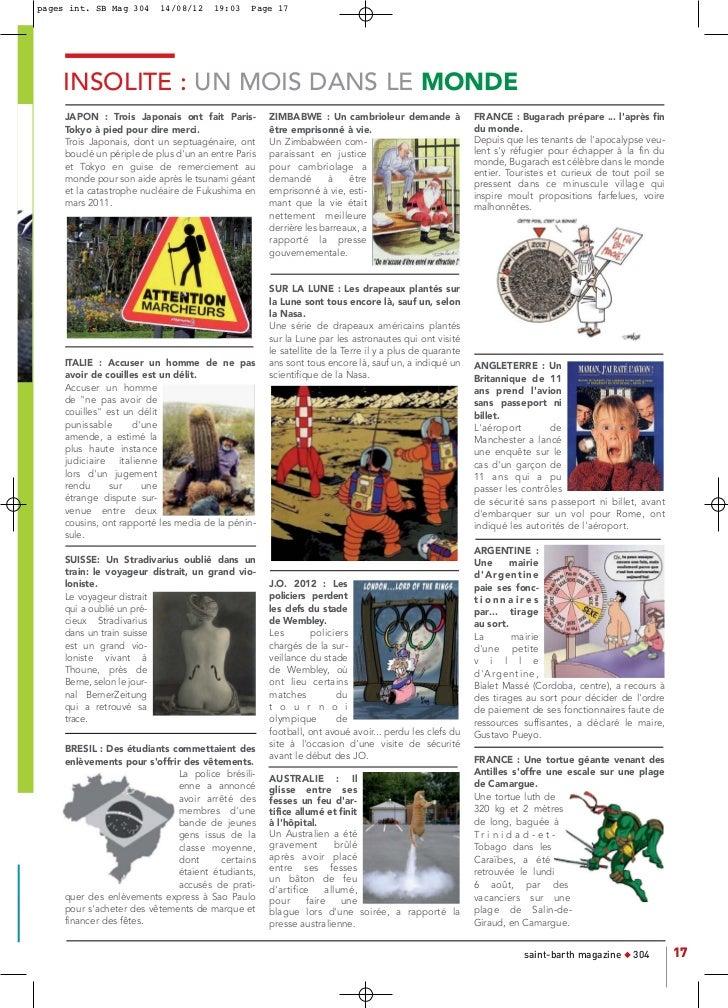 pages int. SB Mag 304      14/08/12     19:03   Page 17    INSOLITE : UN MOIS DANS LE MONDE     JAPON : Trois Japonais ont...