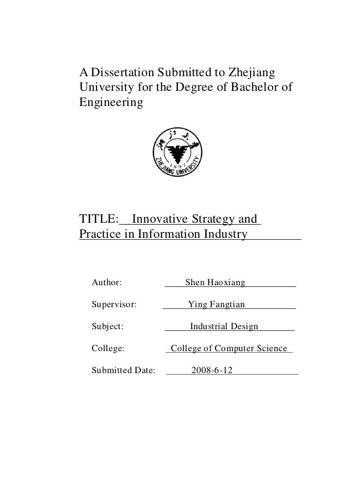 A Dissertation Submitted to Zhejiang University for the Degree of Bachelor of Engineering     TITLE: Innovative Strategy a...