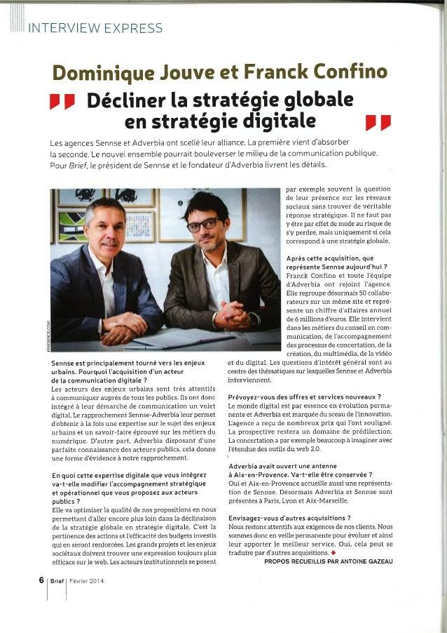 Entretien avec Dominique Jouve et Franck Confino - Brief - février 2014