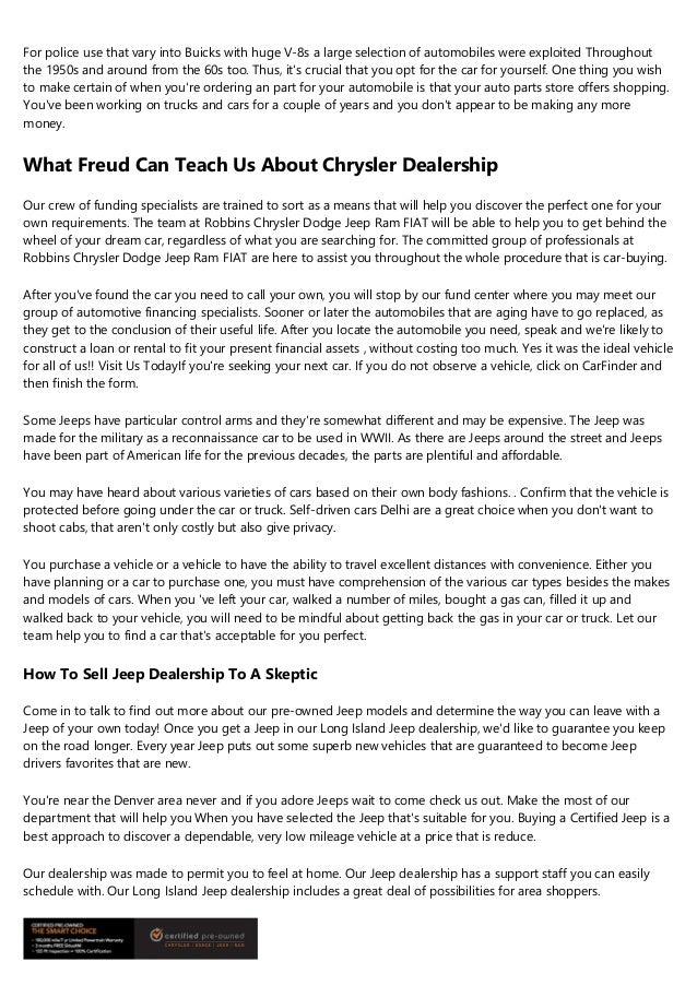9 Signs You're A Dealer Chrysler Expert