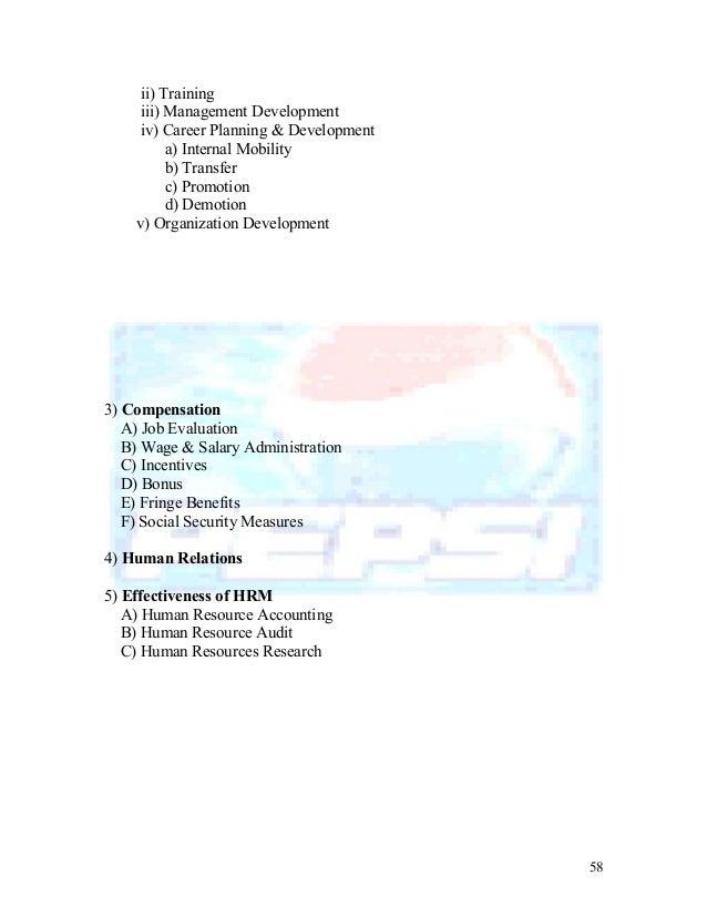 Job analysis for pepsi