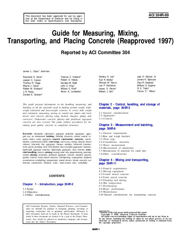 304 r 89 - guide to measuring, mixing, transporting and placi