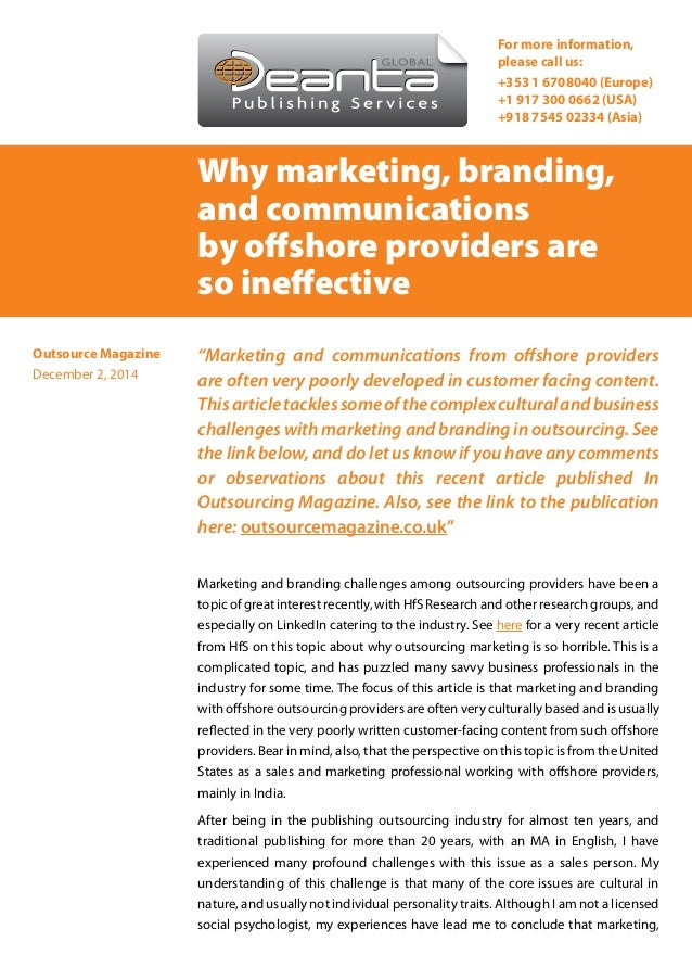 "Why marketing, branding, and communications by offshore providers are so ineffective ""Marketing and communications from of..."