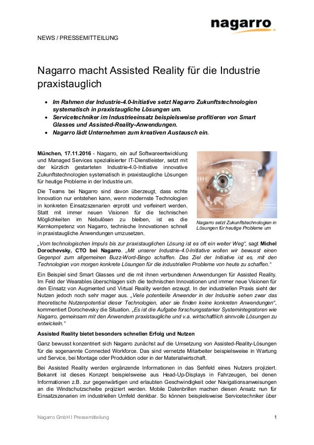 NEWS / PRESSEMITTEILUNG Nagarro GmbH I Pressemitteilung 1 Nagarro macht Assisted Reality für die Industrie praxistauglich ...