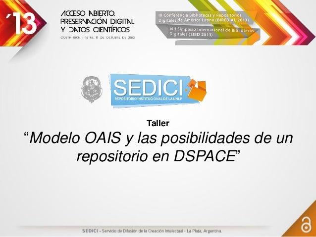"""Taller """"Modelo OAIS y las posibilidades de un repositorio en DSPACE"""""""