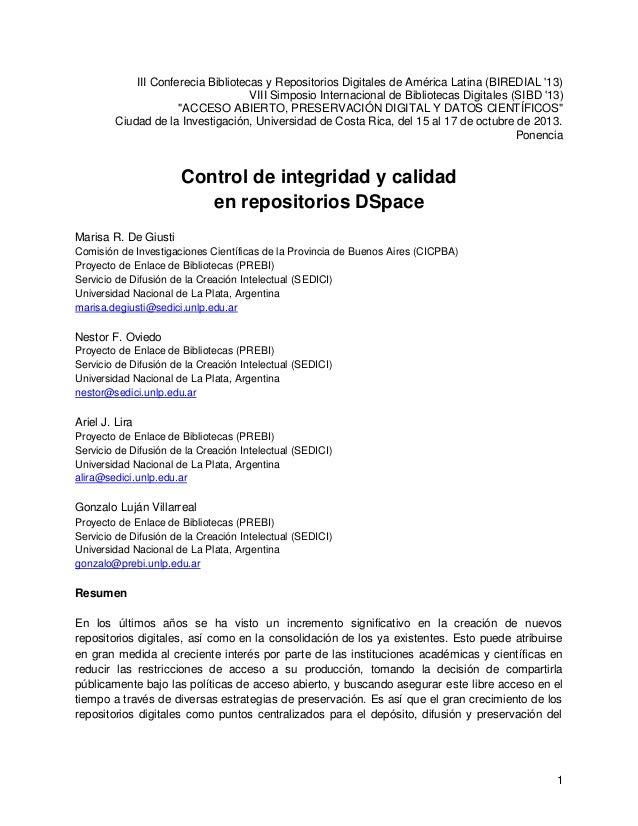 1 III Conferecia Bibliotecas y Repositorios Digitales de América Latina (BIREDIAL '13) VIII Simposio Internacional de Bibl...