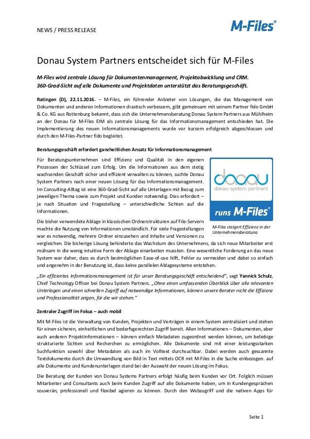 NEWS/PRESSRELEASE   Seite1  DonauSystemPartnersentscheidetsichfürM-Files M-FileswirdzentraleLösungfür...