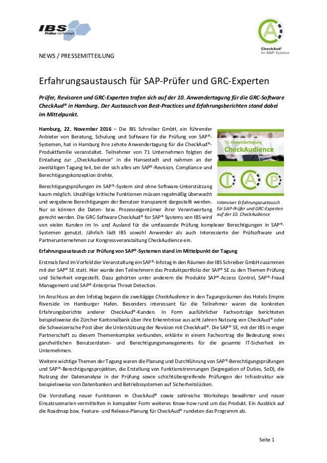 NEWS/PRESSEMITTEILUNG   Seite1 ErfahrungsaustauschfürSAP-PrüferundGRC-Experten Prüfer,RevisorenundGRC-Exper...