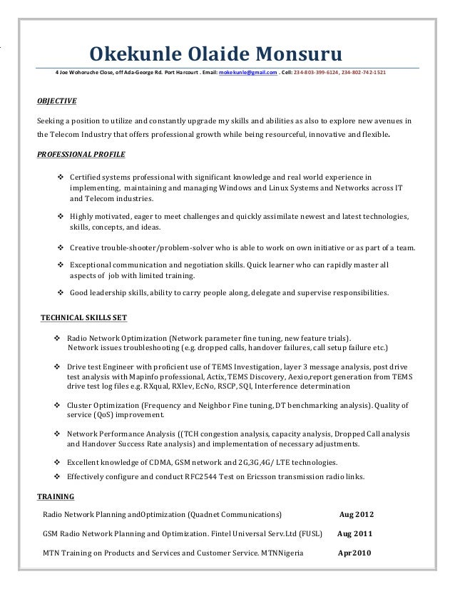 Lte rf optimization engineer resume
