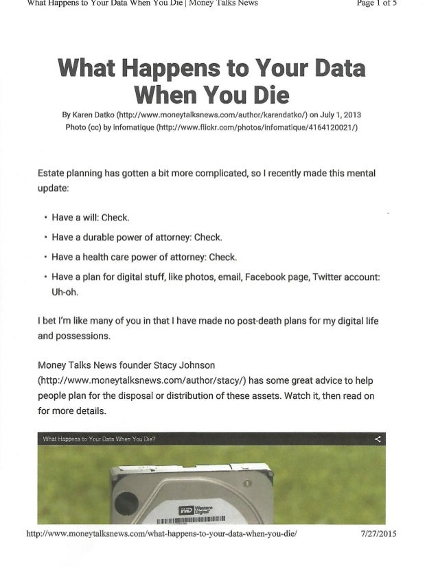 what happens to data when you die