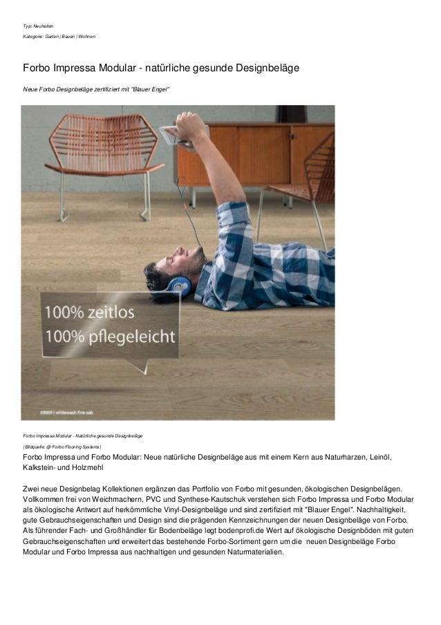 Typ: Neuheiten Kategorie: Garten | Bauen | Wohnen Forbo Impressa Modular - natürliche gesunde Designbeläge Neue Forbo Desi...