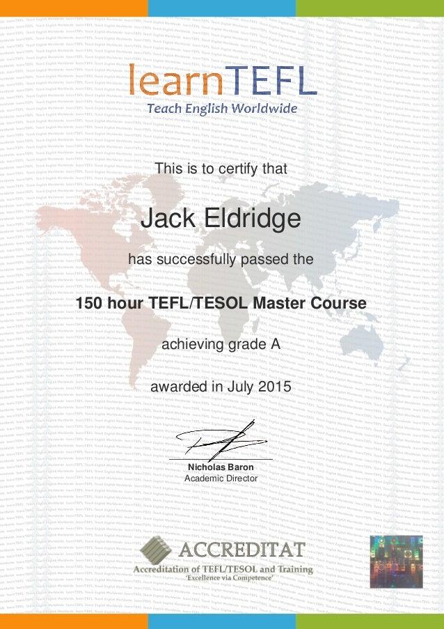 Tefl Certificate