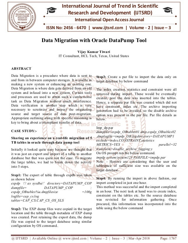 Data Migration With Oracle DataPump Tool