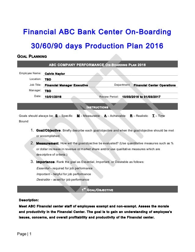 30 60 90 Day On Boarding Production Plan