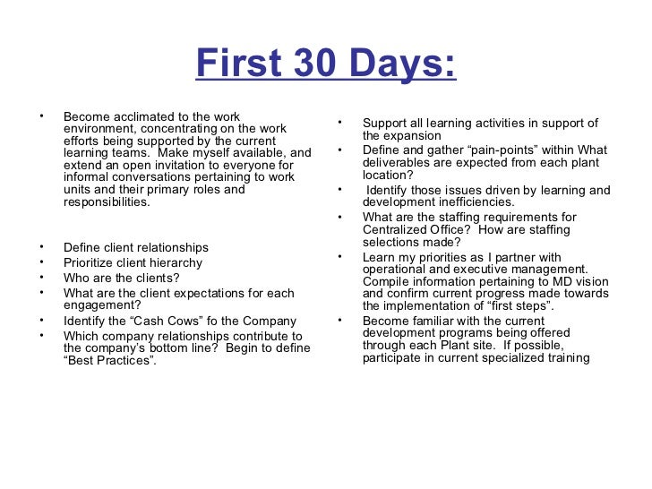 30 60 90 days plan to meet goals for new organization for First 100 days plan template