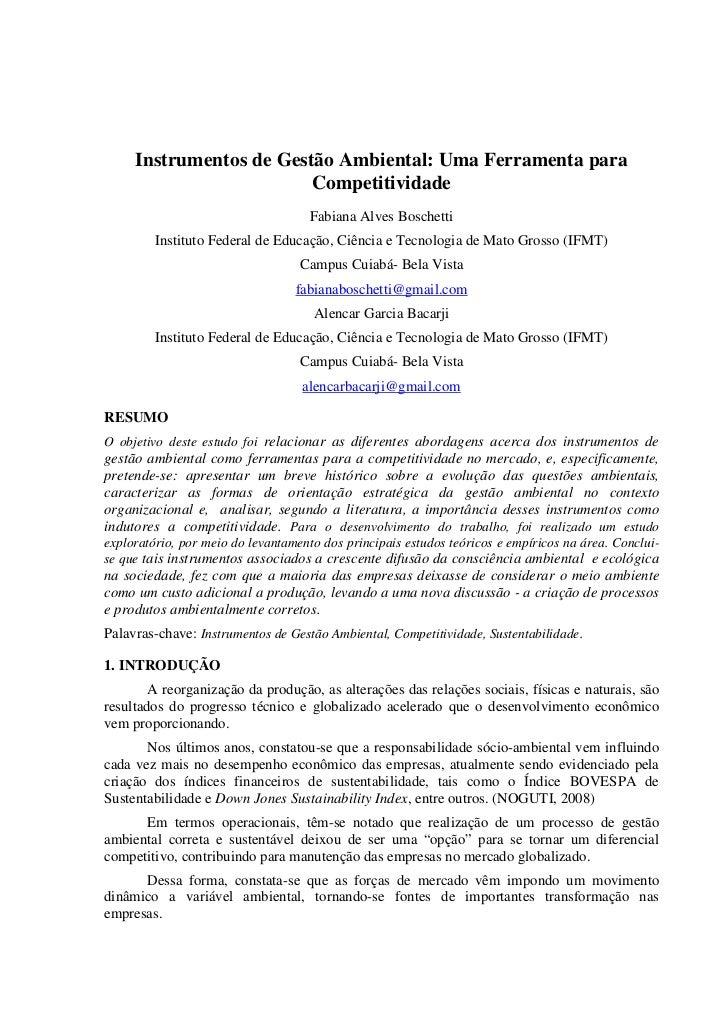 Instrumentos de Gestão Ambiental: Uma Ferramenta para                         Competitividade                             ...