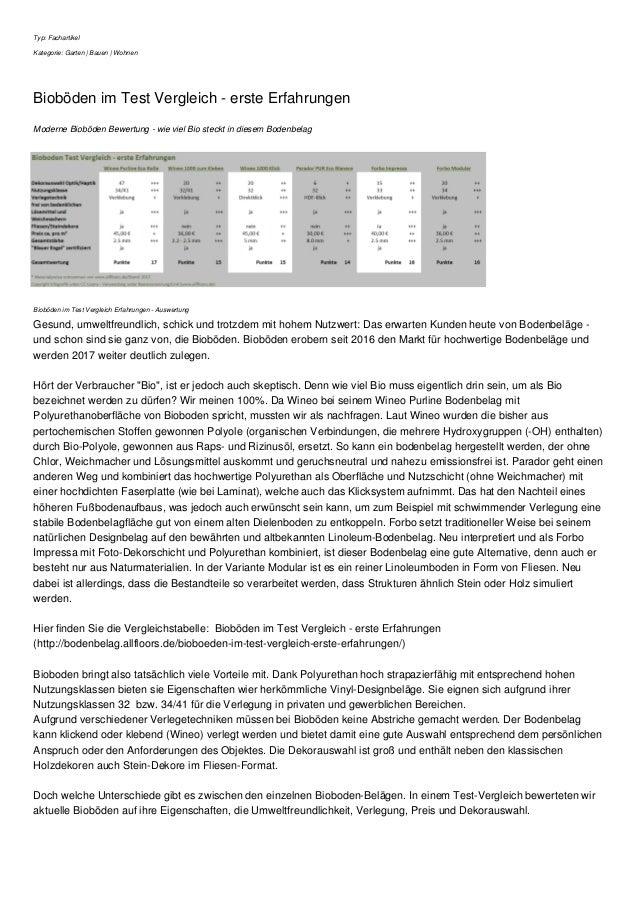 Typ: Fachartikel Kategorie: Garten | Bauen | Wohnen Bioböden im Test Vergleich - erste Erfahrungen Moderne Bioböden Bewert...