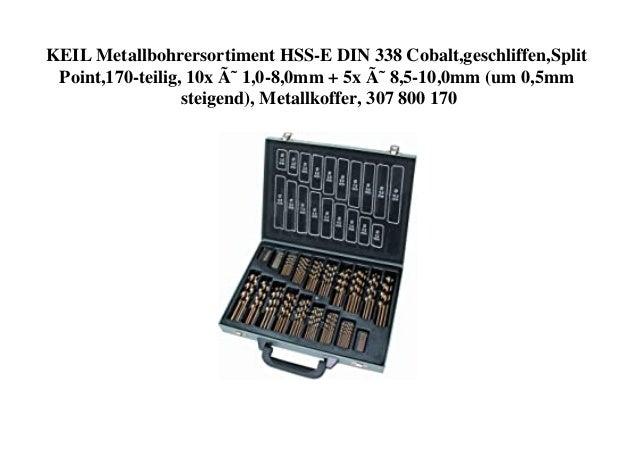 KEIL Metallbohrersortiment HSS-E DIN 338 Cobalt,geschliffen,Split Point,170-teilig, 10x Ø 1,0-8,0mm + 5x Ø 8,5-10,0mm (u...