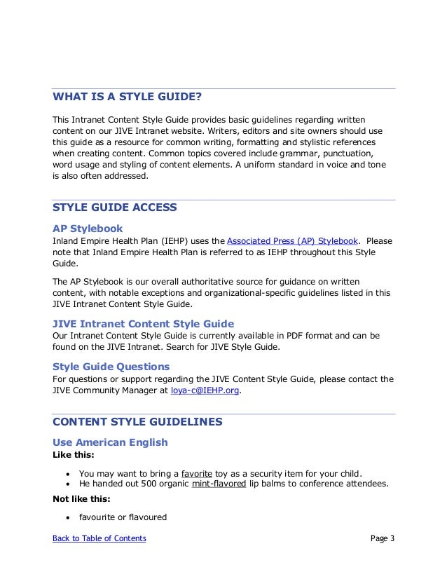 jive content style guide v3 rh slideshare net style guide table of contents style guide table of contents