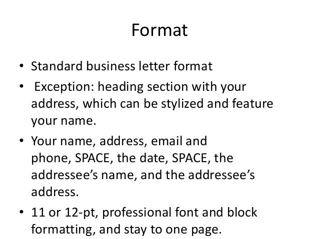 standard business cover letter format