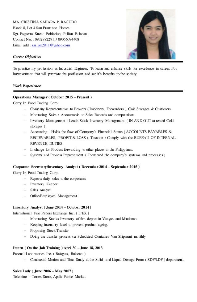 sales lady resume