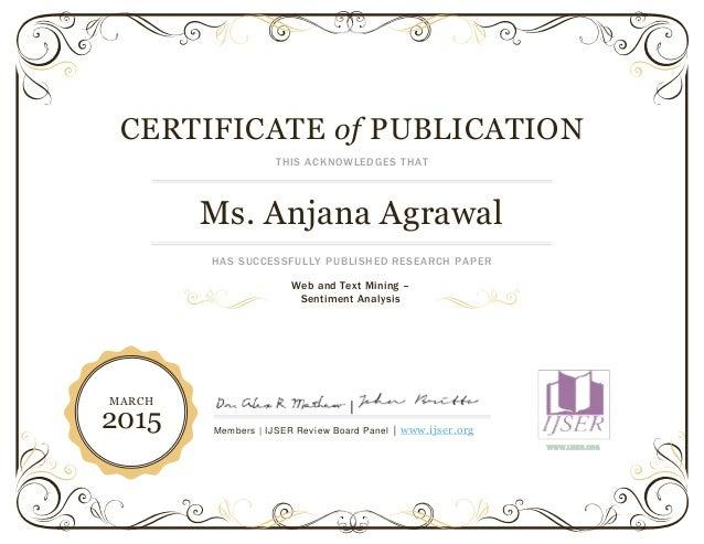 ijser pulication award certificate