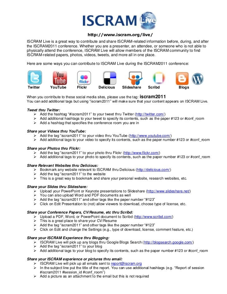 http://www.iscram.org/live/<br />ISCRAM Live is a great way to contribute and share ISCRAM-related information before, dur...