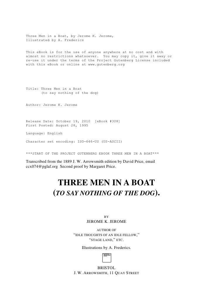 Three Men in a Boat, by Jerome K. Jerome,Illustrated by A. FredericsThis eBook is for the use of anyone anywhere at no cos...