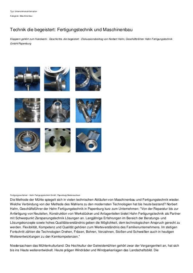 Typ: Unternehmensinformation Kategorie: Maschinenbau Technik die begeistert: Fertigungstechnik und Maschinenbau Klappern g...