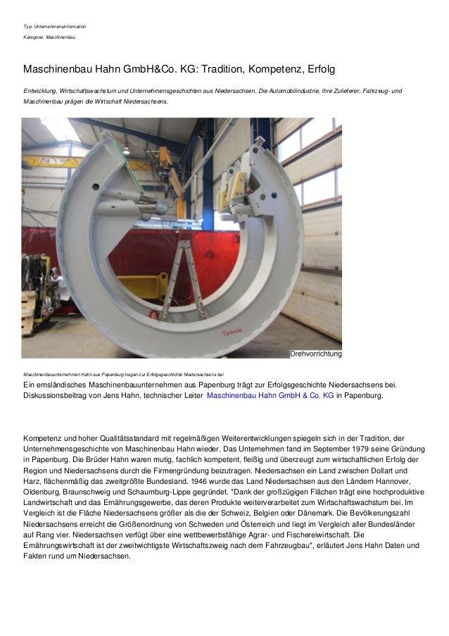 Typ: Unternehmensinformation Kategorie: Maschinenbau Maschinenbau Hahn GmbH&Co. KG: Tradition, Kompetenz, Erfolg Entwicklu...