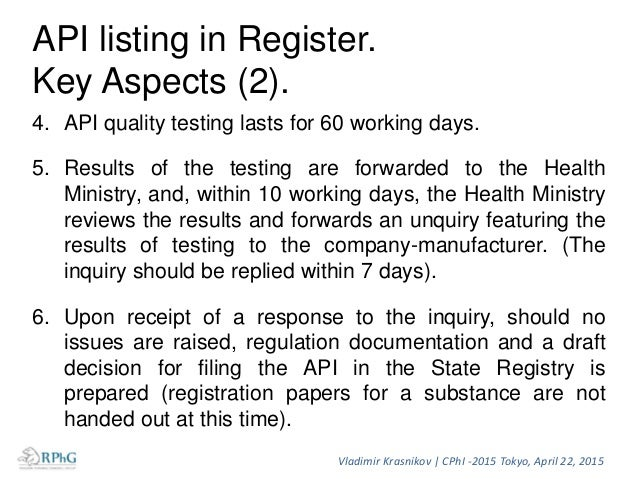 API listing peculiarities (1). 1. According to law, API registration process lasts for 110 working days, but currenly time...