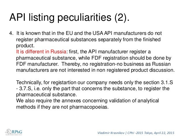 Documents and data required for the preparing of registration dossier for API of foreign origin in Russia. I. Administrati...