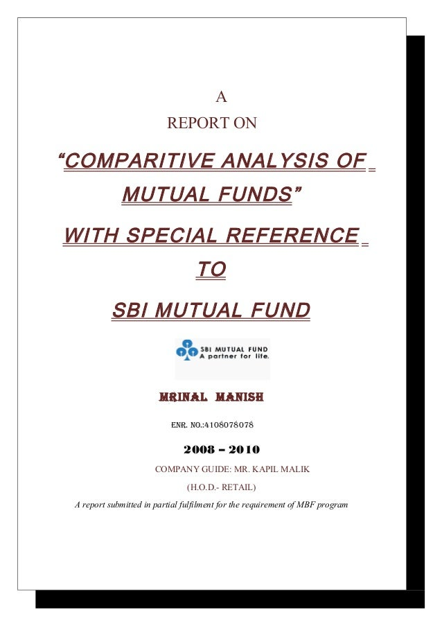 """A                          REPORT ON""""COMPARITIVE ANALYSIS OF             MUTUAL FUNDS""""WITH SPECIAL REFERENCE              ..."""