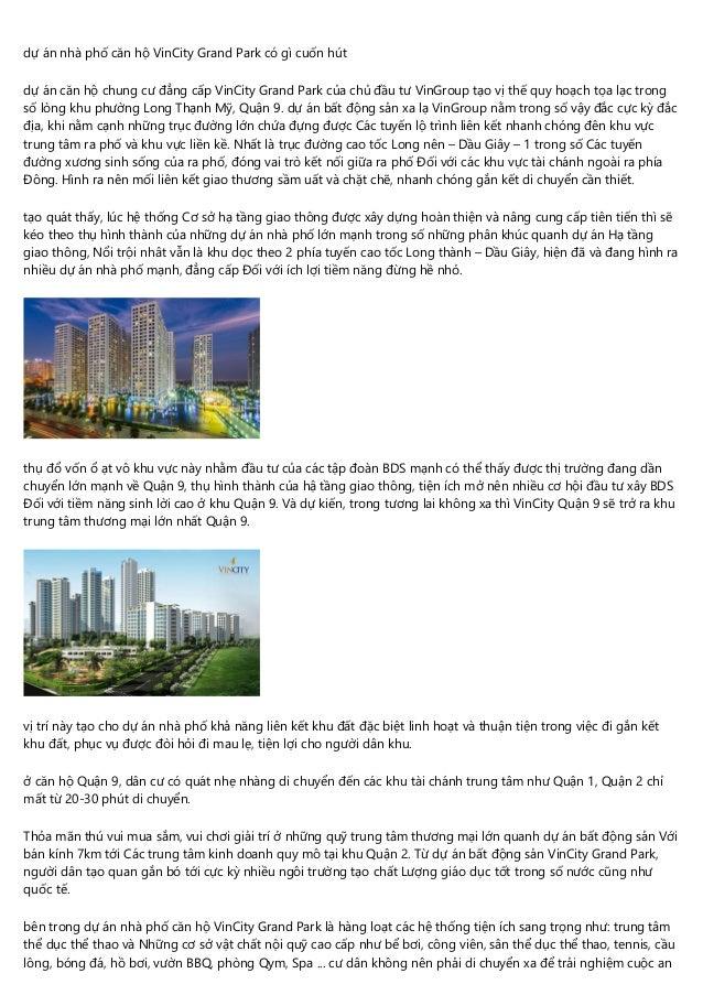 dự án nhà phố căn hộ VinCity Grand Park có gì cuốn hút dự án căn hộ chung cư đẳng cấp VinCity Grand Park của chủ đầu tư Vi...