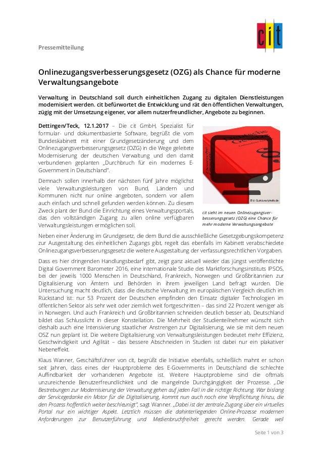 Pressemitteilung     Seite 1 von 3 Onlinezugangsverbesserungsgesetz (OZG) als Chance für moderne Verwaltungsangebote ...