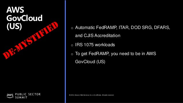 © 2019, Amazon Web Services, Inc. or its affiliates. All rights reserved.P U B L I C S E C TO R S U M M I T AWS GovCloud (...