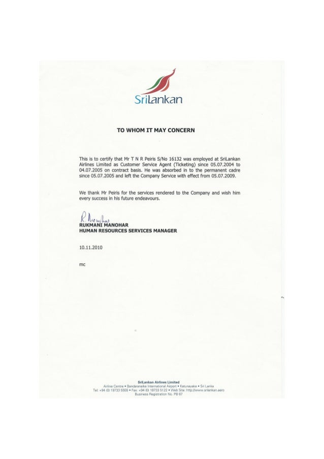 Experience Certificate Format Ticketing. Srilankan Service letter