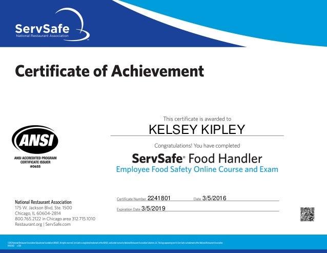 Food Handlers Certificate Online